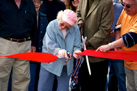 Allene Bean cuts the ribbon