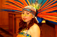 Dancer from Eztli Chicahua proudly displays her headpiece.