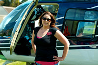 Beth Robertson of the Los Medanos College Foundation pauses near the Sheriff's helicopter